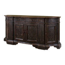 Hooker Furniture - Black Serpentine Credenza - Eight is the lucky number for this sturdy credenza, which features four doors and four drawers. Crafted from hardwood solids, it sports cherry and white ash burl veneers and a black finish. Use it in the dining room to serve as a buffet table and store serving ware and linens behind its gold-accented facade.