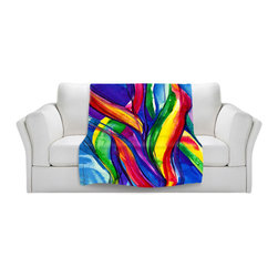 DiaNoche Designs - Throw Blanket Fleece - Color Dance of the Sea - Original artwork printed to an ultra soft fleece blanket for a unique look and feel of your living room couch or bedroom space. Dianoche Designs uses images from artists all over the world to create Illuminated art, canvas art, sheets, pillows, duvets, blankets and many other items that you can print to. Every purchase supports an artist!