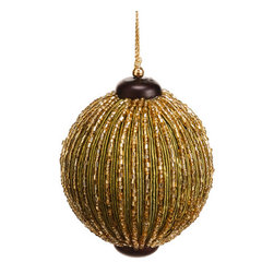 Silk Plants Direct - Silk Plants Direct Beaded Stripe Ball Ornament (Pack of 6) - Pack of 6. Silk Plants Direct specializes in manufacturing, design and supply of the most life-like, premium quality artificial plants, trees, flowers, arrangements, topiaries and containers for home, office and commercial use. Our Beaded Stripe Ball Ornament includes the following: