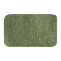 "None - Plush Deluxe Laurel Green Bath Rug (30"" x 50"") - Relish the luxurious softness of the Plush Deluxe bathroom collection. The green bath rug is composed of an easy to clean nylon with the added safety of non-skid backing."