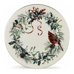 Lenox - Lenox Winter Greet Dinnerware Dinner Plate (Set Of 6) - With Dinner Plates that owe their distinctive beauty to a lovely portrait created by acclaimed nature artist Catherine McClung. She portrays two chickadees and a cardinal perched on a colorful wreath. What a festive addition to your Holiday table decor.