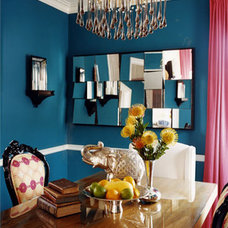 Contemporary  Peacock blue dining room