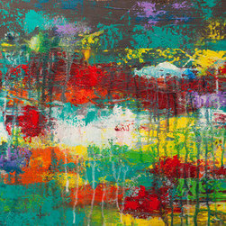 Saturation (Original) By Hilary Winfield - Saturation is an original, modern art painting from the Modern Industrial series. This one-of-a-kind painting was created with acrylic paint on gallery-wrapped canvas. It has a width of 18 inches and a height of 18 inches with a depth of 1 inch (18x18x1). The edges are painted black creating a finished look so the canvas does not require a frame.