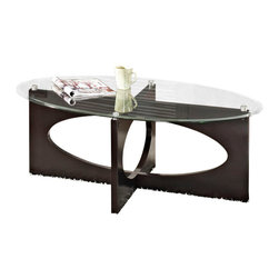 Standard Furniture - Standard Furniture Dania 3-Piece Oval Glass Top Coffee Table Set in Dark Merlot - Dania shows off the bold geometric shapes of classic Danish Modern design with its interesting shapes and cut-out profiles.