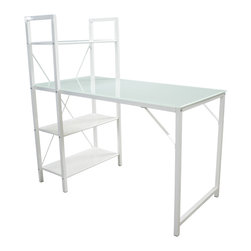 Great Deal Furniture - Lennox White Glass Top Computer Desk & Shelf - Get motivated with the Lennox Computer Desk & Shelf. Designed with Modern inspired elements, this desk is manageable in size and will complement any existing decor. Constructed from sturdy white steel and a glass table top, you will enjoy the sleek silhouette while taking full advantage of the storage shelf to fit your organizational needs and to maximize desk space. Perfect for any office space in your home, the Lennox Computer desk is built with style and functionality in mind.