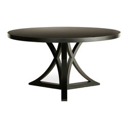 "Redford House - Redford House Floyd Round Dining Table - An unusual curved X-base puts a geometric twist on the Redford House Floyd dining table. This eye-catching round furnishing is an ideal complement to transitional decor. Available in 2 sizes; Made from Pacific Northwest Alder wood; Shown in black, choose from a selection of hand-lacquered finishes; Optional distress markings artistically mimic everyday wear; Color may vary from piece to piece; If considering multiple pieces for a room, we recommend they be ordered at the same time to minimize variances in color; Small: 48""W x 48""D x 30""H; Medium: 54""W x 54""D x 30""H"