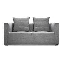 "Taylor sofa 62"" - Two-seat Gray-Stone fabric - Taylor is a snappy, compact design adept at playing the lead in smaller living spaces, or a strong supporting role in a variety of interior styles.Its unique, one-piece seat cushion is divided by a single linear-seam, indented a few inches from the surface of the top seat. This subtle detail emphasizes the sofa's modern design pedigree while also accentuating its clean profile. The cushion itself is composed of high-resilience foam, topped with a thick cotton liner. The effect projects firmness, while the reality is remarkably soft.Taylor's loose back cushions are a supportive, supple blend of down feathers and cotton fiber. They're there to invite relaxation, but for a more minimal appearance, simply remove them. Or better, add an assortment of color throw pillows to adapt Taylor to any personal color palette.  The Grey-stone fabric is a light grey color.Taylor is available as a sofa, loveseat, and accent chair (each size-customizable). Purchase as a set - or mix and match with a variety of pieces. Dimensions: 62*37*35"