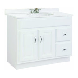 """DHI-Corp - Concord White Gloss Vanity Cabinet with 2-Doors and 2-Drawers, 36"""" by 18"""" by 30"""" - The Design House 531293 Concord White Gloss Vanity Cabinet features a durable white gloss finish and satin nickel hardware. Clean lines and concealed hinges. The 2-door, 2-drawer construction gives you plenty of storage for toiletries to keep your countertop free of clutter. Easily add an additional shelf inside this cabinet for even more storage. Measuring 36-inches by 18-inches by 30-inches, this vanity can fit into a small to medium sized bathroom, while providing ample storage space. Modern construction meshes with subtle vintage details for an elegant addition to your bathroom. This product is perfect for remodeling your bathroom and matches granite countertops and colored walls. Vanity top is not included with this product. The Design House 531293 Concord White Gloss Vanity Cabinet has a 1-year limited warranty that protects against defects in materials and workmanship. Design House offers products in multiple home decor categories including lighting, ceiling fans, hardware and plumbing products. With years of hands-on experience, Design House understands every aspect of the home decor industry, and devotes itself to providing quality products across the home decor spectrum. Providing value to their customers, Design House uses industry leading merchandising solutions and innovative programs. Design House is committed to providing high quality products for your home improvement projects."""