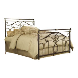Fashion Bed - Fashion Bed Lucinda Metal Sleigh Bed in Marbled Russet Finish-Full - Fashion Bed - Beds - B11834 - The Lucinda Metal Sleigh Bed is a study in affordable elegance and conveys an atmosphere of drama and romance. The subtly sleighed top rail on the headboard and footboard along with unique castings and intricate scrollwork give this bed an unparalleled presence. The shimmering soft golden highlights on the castings are the perfect accent to the rich Marbled Russet finish. This distinct color combination truly makes a compelling statement of understated luxury.