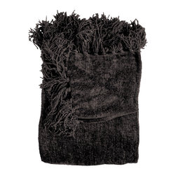 Woven Workz - Susan Black Chenille Throw - Take this stylish throw to the bed, couch, porch - anywhere you want to kick back and relax. Its irresistable texture will add definition to any room. Heavyweight chenille throw in jewel-tone colors. Hand knotted fringe.