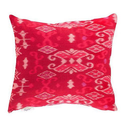 Bright Pink Ikat Throw Pillow - Dimensions 16.5ʺW × 4.0ʺD × 14.0ʺH