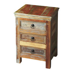 Butler Furniture - Arya Rustic Accent Chest - Like a favorite pair of well-worn jeans, a rustic piece of furniture just feels more comfortable to have around. This 3-drawer accent chest offers a hand-painted finish which ensures that each piece is truly unique. The use of recycled wood solids in its construction also ensures that no new sources of lumber were used in its creation.