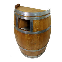 "Master Garden Products - Wine Barrel Waste Receptacle, Lacquer finished, 26""W x 14""D x 35""H - Made from environmentally friendly recycled wine barrels, this extremely compact waste receptacle can save you an ample amount of space by simply setting it up against a wall or any kind of existing structure. It can hold a standard 10 1/4 gallons trash can or a 15 7/8 gallon slim trash can. It is also designed to line a 20 gallon garbage bag without using a can. Convenient 6"" x 7"" self closing push door at the top of the barrel with stainless steel spring hinges. Optional caster for mobility and lacquer finished to enhance its appearance as well as for added protection."