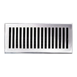 """Brass Elegans 116D CH Brass Decorative Floor Register Vent Cover - Contemporary - This chrome finish solid brass floor register heat vent cover with a contemporary design fits 4"""" x 10"""" x 2"""" duct openings and adds the perfect accent to your home decor."""