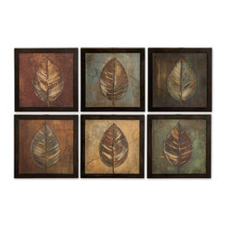 """Uttermost - Uttermost New Leaf Framed Panel Set of 6 50890 - These oil reproductions feature a hand applied brushstroke finish. Frames have a Medium size:ium brown undertone with heavy black distressing. Each print is 14""""W x 14""""H."""