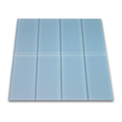 "Subway Tile Outlet - Frosted Sky Blue Glass Subway Tile - The Frosted Sky Blue Subway Tile is made from the strongest stain-resistant crystal clear glass. These tiles have a 8mm thickness that increases their durability and the depth of their color making them truly beautiful subway tiles. These subway tiles can be used for commercial or residential construction in either a wet or dry environment.    These Subway tiles are sold by the square foot comprised of 8 mesh mounted tiles. The individual tiles measure 3""x6""."