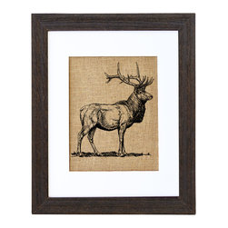 Fiber and Water - Elk In The Wild Art - Emblematic of confidence and masculine energy, the moose makes a powerful statement in your favorite setting. Printed in Maine on natural burlap and framed in distressed wood, it speaks stylishly to anyone with a respect for the wild.
