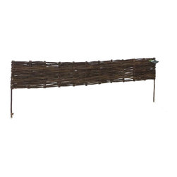 """Master Garden Products - Woven Willow Edging, 16""""H x 47""""L - Used commonly in European gardens, these natural willow edging kits are ideal in the outdoors where it's needed to define garden areas, or use them to separate walkways. Some of our edgings are made from tightly woven canes or saplings with integrated lattice designs, while others have a rustic classic divider design. All are economically sustainable and environmentally friendly. Our willow edging kit comes in a convenient package with the edging panel and black nylon coated wire included. They are held up by sturdy legs that push easily into the ground. Optional pressure treated wood stick may be required to support the panels depending on the ground's condition. To improve the durability of the natural willow product, you can put a coat of linseed oil based preservative as yearly maintenance."""