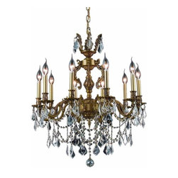 "PWG Lighting - Rowland 10-Light 28""D Crystal Chandelier 8084D28FG-RC - Luxurious crafted solid brass frames emphasize the gorgeous crystal dressing in the stunning Rowland Collection. Rowland is available in your choice of clear, golden teak or golden shadow crystals and in three finish options- Antique Bronze, Dark Bronze and Pewter."
