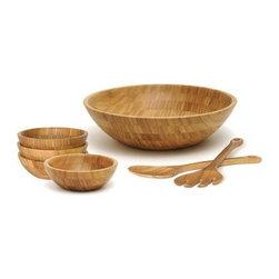 OCI - Lipper 8204/7 Bamboo Round Salad Bowl 7-Piece Set - Lipper 8204/7 Bamboo Round Salad Bowl 7-Piece Set