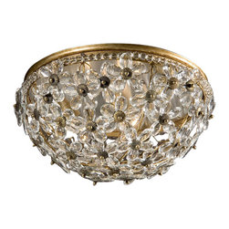 "Inviting Home - Crystal Ceiling Lighting Fixture - round crystal ceiling lighting fixture 15"" x 7-1/2""H hand-crafted in Italy Round ceiling light with crystal flowers and antiqued gold-leaf trim. This crystal ceiling light uses three candelabra bulbs. This crystal lighting fixture is hand-crafted in Italy. UL approved - dry location; hardwired; 3x 60W max. candelabra bulbs; bulbs not included. Approx. 6 feet of chain/wire drop provided. Handcrafted in Italy."