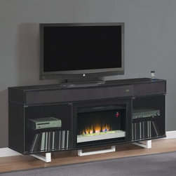 Classic Flame Enterprise Black Electric Fireplace Entertainment Center - Modern is more than just a snappy buzzword or a sleek color scheme when we're talking about the Classic Flame Enterprise Black Electric Fireplace Entertainment Center. The wide, glossy black cabinet of this entertainment center holds some of the most innovative features that the market offers. A built-in docking station allows you to play music or video while your Apple mobile device charges and syncs, but you can also wirelessly stream audio from any smartphone in the room. An integrated soundbar with removable grill hide a pair of tweeters while a powered subwoofer and rear-facing bass ports make sure that you get all the low-end you could ever want. Smoked glass doors conceal ample storage for AV components, gaming consoles and related media, and the wide top is the obvious location for a flat-panel television. The body is crafted from durable MDF and solid wood with an exterior of high-quality wood veneers in a stunning black finish.The safe, infrared technology that creates the gentle and effective heat produced by this fireplace doesn't't emit any harmful gasses or vapors. Air is passed through a reusable filter and over six infrared quartz heating elements, then this warm air moves past copper heat exchangers that help maintain the warm air's normal humidity. As the air leaves the fireplace, the flocked grill still remains cool to the touch, making it safe for use in homes with children or pets. These infrared elements have a tested life of over 20,000 hours and use minimal power to provide heat to rooms up to 1,000 square feet.About Twin-Star International, Inc./Classic Flame Twin-Star International, Inc., a premium home furnishings manufacturer, offers an extensive line of high-quality products, ranging from classic traditional items to modern pieces that embrace global furnishing trends. Founded in 1996, Twin-Star employs top-of-the-line in-house designers and engineers to continually provide customers with the finest products. Twin-Star has world headquarters in Delray Beach, FL, with showrooms throughout North America.Classic Flame products are the first electric fireplaces to design mantels of the most sought after furniture styles from the finest quality hardwood solids and hand selected veneers. They're the first to use fine furniture grade construction techniques and electrical inserts with glowing logs and ember beds that look real whether turned on or off. Classic Flame has earned their reputation as the finest furniture in the electric fireplace industry.