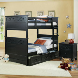 Homelegance - Homelegance Sanibel 2 Piece Bunk Bed Kids' Bedroom Set in Black - As breezy as a day at the beach  the modern cottage styling of the Sanibel Collection will meld effortlessly with your casual personal style. Diamond overlay curves throughout the entire collection - capping the headboard then carrying on to the gracefully bowed case pieces. The versatility of the design lends to the perfect placement in a master suite  guest or child's bedroom. The collection is offered in Black or White.