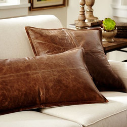 Pieced Leather Pillow Cover - Swap out your summer linen or everyday pillows for this worn leather look that's both cozy and masculine.