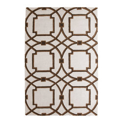 Global Views - Global Views Arabesque Rug Mocha - A mocha brown Moroccan-inspired pattern pops against the Arabesque rug's ivory background. Graphic and bold, this Global Views floor covering delivers the modern interior geometric panache. Available in several sizes; 100% wool pile; 100% cotton backing; Rug pad recommended; Dry clean only