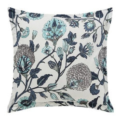 DwellStudio - Samara Euro Sham Pair by DwellStudio - The DwellStudio Samara Euro Sham Pair has a cool floral pattern inspired by the opulent allure of the Silk Road. The hand drawn botanical print on this set of shams is rendered in calming shades of blue, green and grey on a smooth 200 thread count cotton percale. DwellStudio, founded in 1999 by Christiane Lemieux, specializes in home furnishings steeped in modern design. With a unique sense of color and a strong commitment to quality and innovation, DwellStudio continues to create its own distinctive interpretation of modern home furnishings. In the same creative spirit, the company encourages their customers to experiment with mixing various DwellStudio textile lines together.