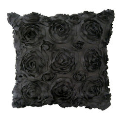 KH Window Fashions, Inc. - Texture Rose Pillow- Black, with Insert - This textured rose pillow adds a pizazz to any space. The texture is exquisite.