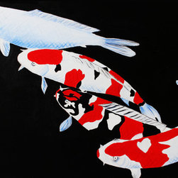 Feng Shui Koi Fish (Original) by Natalia Grozina - The fish symbolize abundance, prosperity and wealth in feng shui. Because water in many cultures is a symbol of life, koi fish are a symbol of continuous abundance and nourishment. My painting has (from top to bottom) the tancho, sanke, showa and kuchibeni-kohaku varieties.
