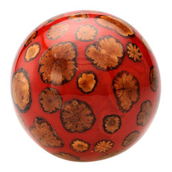 Kouboo - Decorative Ball with Sunflower Inlay, Red - This lively accent piece brings the inviting warmth of the sunflower into your home. Handmade with an inlay of sunflower vine, this decorative ball possesses a myriad of decorating possibilities.