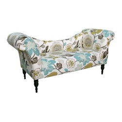 Skyline Roll Arm Chaise - Gorgeous Pearl - The Skyline Roll Arm Chaise - Gorgeous Pearl will become your go-to place for ultimate relaxation. This lovely chaise lounge features a frame of rugged wood that supports thick foam padding designed for years of comfortable support. Over that plush foam is high-quality cotton upholstery with a vivid floral print that makes every day the first day of spring.About Skyline Furniture Manufacturing Inc.Skyline Furniture was founded in 1948 with the goal of producing stylish, affordable, quality furniture for the home. After more than 50 years, this family-run business is still designing and manufacturing unique products that meet the ever-changing demands of the modern home furnishing industry. Located in the south suburbs of Chicago, the company produces a wide variety of innovative products for the home, including chairs, headboards, benches, and coffee tables.