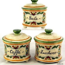 Artistica - Hand Made in Italy - Majolica: Canister Set (3 Pieces) Zucchero/Sale/Caffe - Majolica Collection: