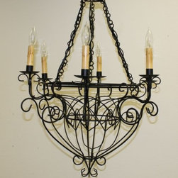Black Iron Six Light French Wire Chandelier - *Electrified Black Iron Six Light French Wire Chandelier.