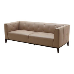 Beverly Hills Furniture Inc. - Charisma Sofa - The Charisma contemporary sofa features durable construction, dark finshed wood base and Taupe Top Grain Leather u pholstery with chic button tufted accents.
