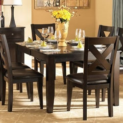 """Homelegance - Contemporary Dining Set w X-Back Design Side - Add Side Chairs: Set of 2 Side ChairsIncludes dining table and 4 side chairs. Wood construction. Attractive """"X"""" back dining chair. Table: 60-78 in. L x 42 in. W x 30 in. H. Chair: 22.5 in. W x 19.75 in. D x 40 in. H"""