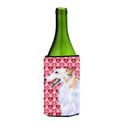 Caroline's Treasures - Borzoi Hearts Love and Valentine's Day Portrait Wine Bottle Koozie Hugger - Borzoi Hearts Love and Valentine's Day Portrait Wine Bottle Koozie Hugger Fits 750 ml. wine or other beverage bottles. Fits 24 oz. cans or pint bottles. Great collapsible koozie for large cans of beer, Energy Drinks or large Iced Tea beverages. Great to keep track of your beverage and add a bit of flair to a gathering. Wash the hugger in your washing machine. Design will not come off.