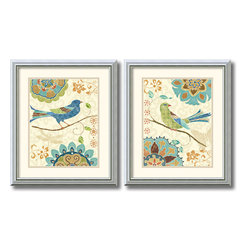 Amanti Art - Eastern Tale Birds - set by Daphne Brissonnet - These 'Eastern Tales Birds' set features a bright songbird over floral patterns; bring a vintage, cottage feel to any space.