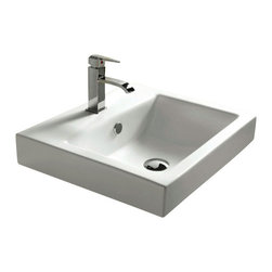 Caracalla - White Ceramic Self Rimming or Wall Mounted Bathroom Sink - Modern design, square white ceramic wall mounted or self rimming bathroom sink.  Classy self rimming washbasin comes with overflow and one or three pre-drilled holes.  Made in Italy by Caracalla. Made out of white ceramic. Sink will have 2 holes for wall mounting even if self rimming option is chosen. Modern style. With overflow. Standard drain size of 1.25 inches. Because the sink has multiple installations, the back side is not glazed.