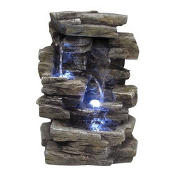Alpine - Fiberglass Slate Tabletop Fountain - The soothing sound of naturally flowing water has always provided the perfect backdrop for sleep, relaxation, and concentration. Features: -Complete with 3 LED lights, submersible pump and transformer.-Constructed out of fiberglass.-Water flows over natural-looking rockery.-Gentle, soothing water sound helps in relaxation.-For indoor or outdoor use.-Collection: Fiberglass.-Distressed: No.Dimensions: -Overall dimensions: 14'' H x 7'' W x 9'' D.-Overall Product Weight: 8 lbs.Warranty: -1 Year Warranty.