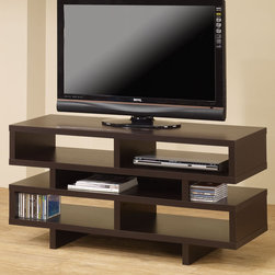Coaster - 700720 TV Console - This simple and contemporary TV console will fit nicely with most home decor. Featuring plenty of open storage space with separated compartments for convenient organization in a cappuccino finish. Add more storage space to your living room or entertainment room with a matching bookcase (#800307).