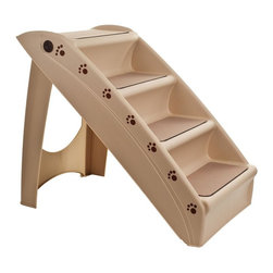 PAW - Paw Foldable Pet Staircase Stairway - Stairs Support up to 120 lbs.. Lightweight and portable. Recommended for small and medium size pets. Carpeted stair treads for better traction. Side rails keep pet secure. Folds compact for easy storage. Made from durable plastic. No assembly required. Folded: 5.25 in. L x 15.25 in. W x 29 in. H. Open: 22.63 in. L x 15.25 in. W x 19.63 in. H (7 lbs.)Help your pet get to their favorite comfy couch, chair or bed with the Fold-able Pet Stair by PAW. The Fold-able Pet Stair is great for puppies, kittens and older dogs and cats that need a little help to get where they're going. Simply lock the Fold-able Pet Stair in place when in use or fold it for compact storage. You and your pet will enjoy the ease and convenience of Fold-able Pet Stair by PAW.