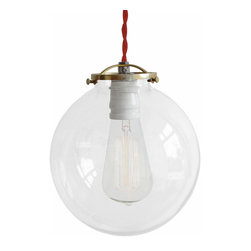 MPDESIGNSHOP - The Frankford Lamp, Red Twisted Cord, Hardwire - THE FRANKFORD LAMP is a vintage-inspired industrial hanging pendant shade lamp handmade in Philadelphia, PA. Each features a unique and beautiful hand-spun clear-glass globe shade, and durable cotton cording in the color of your choice. Quickly and easily install this lamp anywhere you need some extra light with the included 2-inch screw hook.