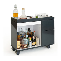 Box-Cart - Aluminum bar cart with integrated wine storage, ice bucket and drawer.