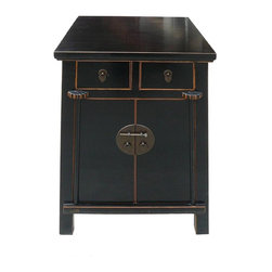 Golden Lotus - Black Lacquer Middle Size End Table Nightstand - This end table / night stand is in a bigger size with smooth black lacquer surface and simple clean sophiscated outlook.