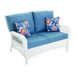 Martha Stewart Living Charlottetown White All-Weather Wicker Patio Love Seat - This white wicker seat has an all-weather finish, so it can stand up to anything Mother Nature offers. Plus, it's just good-looking.