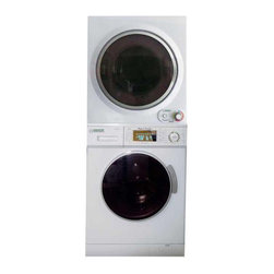 Equator - Equator White Stacking Washer and Dryer - Easily clean and dry your clothes with this multi-functional washer and dryer set. Finished in a clean white color, this set features an electronic control panel with LED lights, making it easy to customize your cleaning experience for better results.
