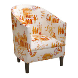 Skyline Furniture MFG. - Tub Chair - Trendy and comfortable, this tub chair will meet your seating needs.  Upholstered in an eye-appealing pattern, it is sure to add character to any room.  Handmade in the USA.  Spot clean only.